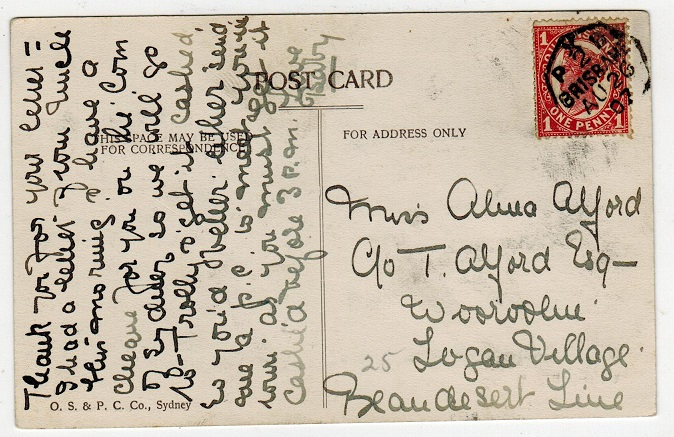 AUSTRALIA (Queensland) - 1907 1d rate postcard with