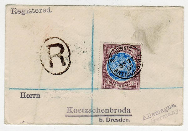 ANTIGUA - 1907 1/- rate registered cover to Germany.