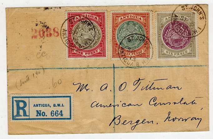 ANTIGUA - 1913 multi franked registered cover to Norway.