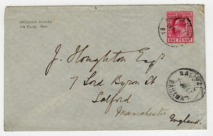 BAHAMAS - 1907 1d rate cover to UK used at HARBOUR ISLAND.