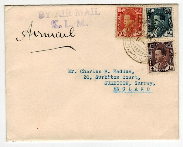 IRAQ - 1936 KLM flight cover to UK