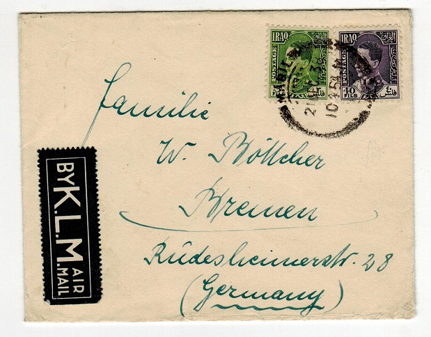 IRAQ - 1938 cover to Germany bearing KLM airmail label used at MAQIL.