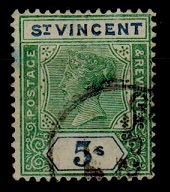 ST.VINCENT - 1899 5/- (SG 75) used FORGERY.
