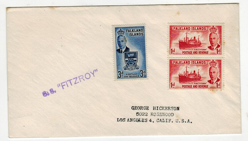 FALKLAND ISLANDS - 1952 S.S.FITZROY maritime cover to USA.