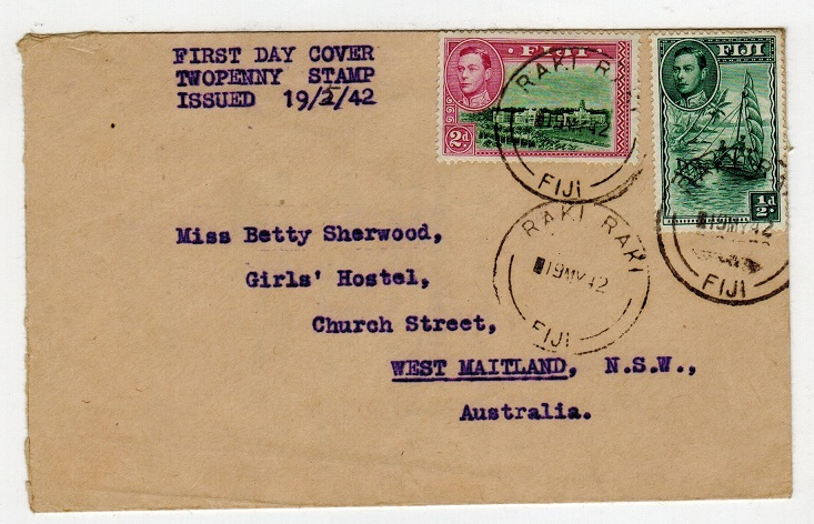 FIJI - 1942 1/2d and 2d First Day cover used at RAKI RAKI to New Zealand.