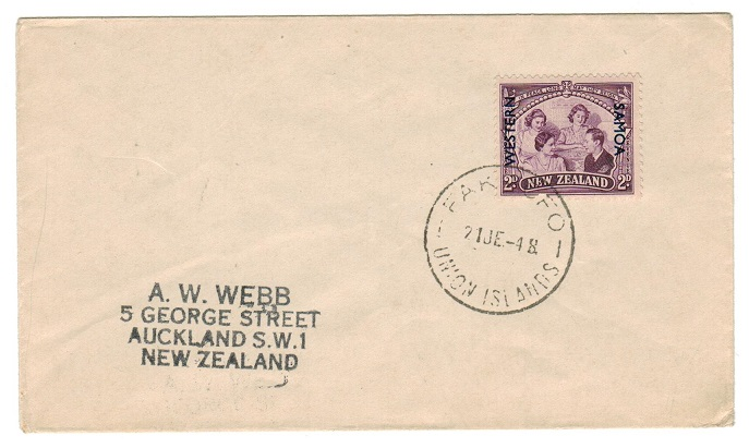TOKELAU - 1948 cover to New Zealand used at FAKAOFO.
