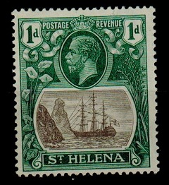 ST.HELENA - 1922 1d fine mint with CLEFT ROCK variety. SG 98c.