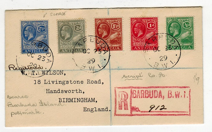 BARBUDA - 1929 Antigua adhesive multi franked registered cover to UK used at BARBUDA.