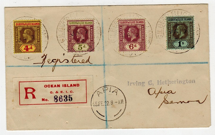 GILBERT AND ELLICE IS - 1922 registered cover to Samoa used at OCEAN ISLAND.