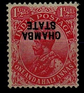 INDIA (Chamba) - 1927 1 1/2d rose mint with INVERTED OVERPRINT. SG 58.