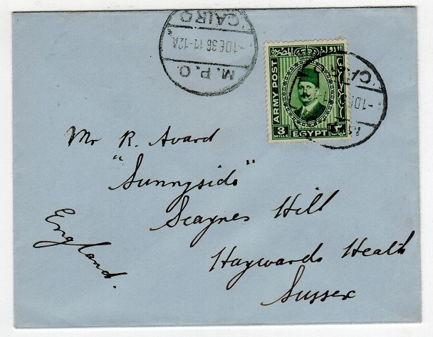 EGYPT - 1936 3m green on cover to UK used at MPO/CAIRO.