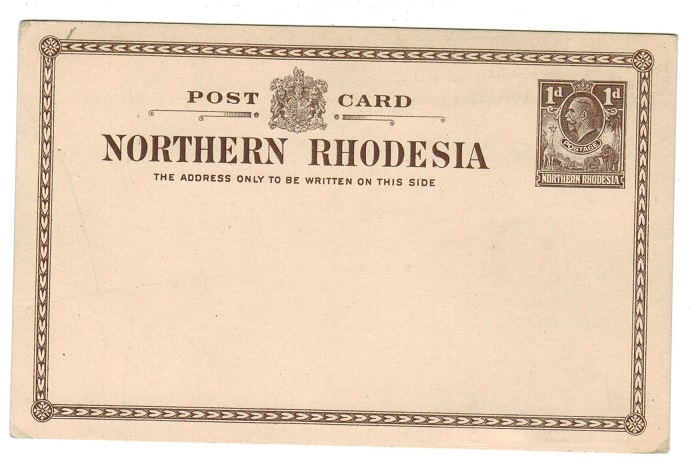 NORTHERN RHODESIA - 1924 1d grey-lilac PSC unused. H&G 1.