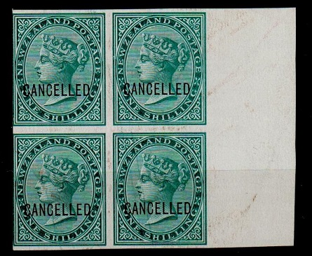 NEW ZEALAND - 1874 1/- IMPERFORATE PLATE PROOF block of four in green struck CANCELLED.
