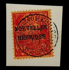 NEW HEBRIDES - 1910 50c (SG F9) used on piece from PORT SANDWICH.