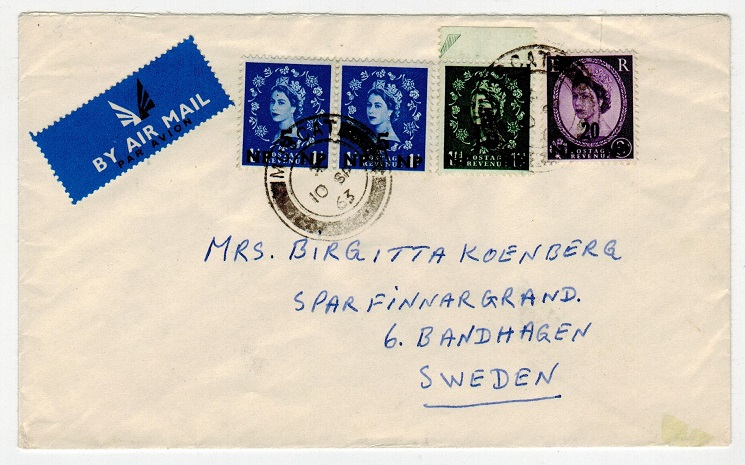 BR.PO.IN E.A. (Muscat) - 1963 multi franked cover to Sweden.