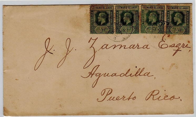 BRITISH VIRGIN ISLANDS - 1924 Leeward 1/2d (x4) on cover to Puerto Rico used at TORTOLA.
