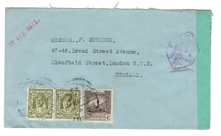 TRANSJORDAN - 1943 cover to UK with green OPENED BY CENSOR label.