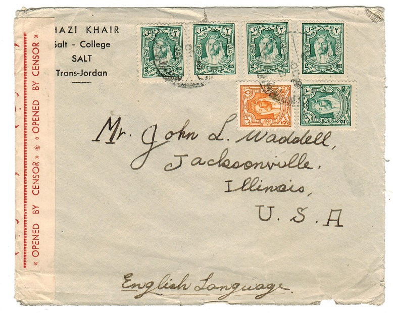 TRANSJORDAN - 1941 cover addressed to USA with red OPENED BY CENSOR label applied.