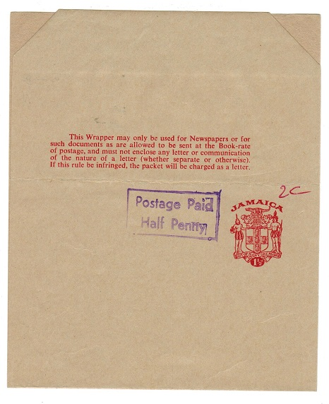 JAMAICA - 1970 (circa) 1 1/2d postal stationery wrapper unused with POSTAGE PAIID/HALF PENNY h/s.