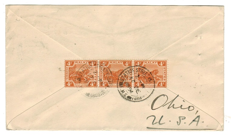 MALAYA (Selangor) - 1934 cover to USA with 4c (x3) used at STATION STREET.