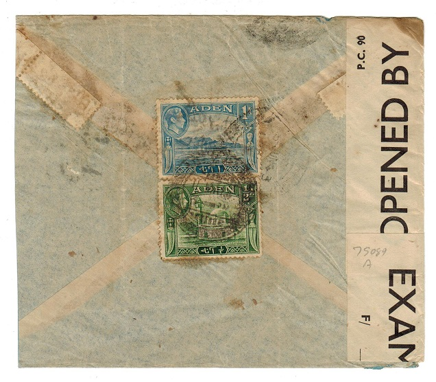 ADEN - 1943 censored cover to Bombay.