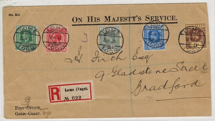 TOGO - 1915 cover to UK with 1/2d-3d (un-overprinted) GOLD COAST adhesive use at LOME.