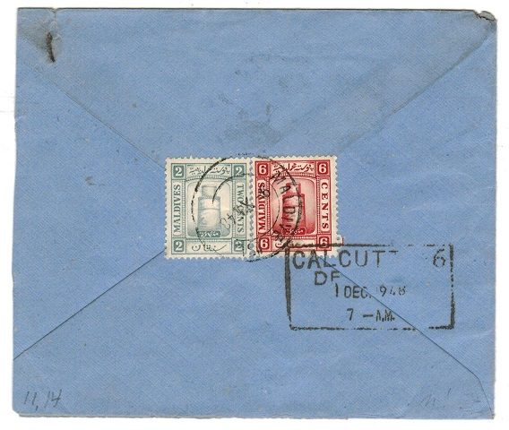 MALDIVE ISLANDS - 1949 8m rate cover to India.