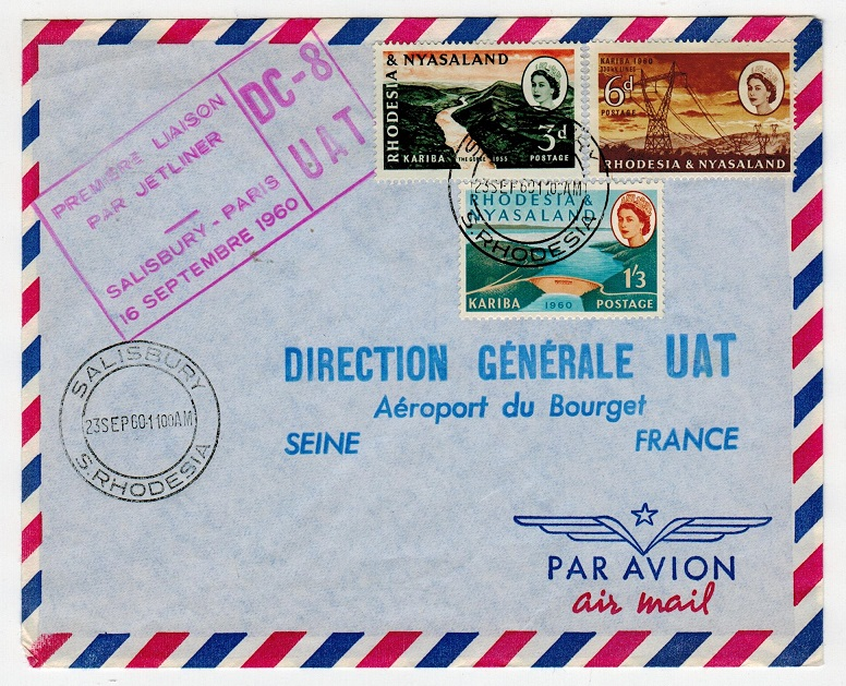 RHODESIA & NYASALAND - 1960 first flight cover to France.