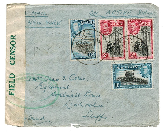 CEYLON - 1942 cover to UK used at F.P.O.74 having rare FIELD CENSOR label in green on cream.