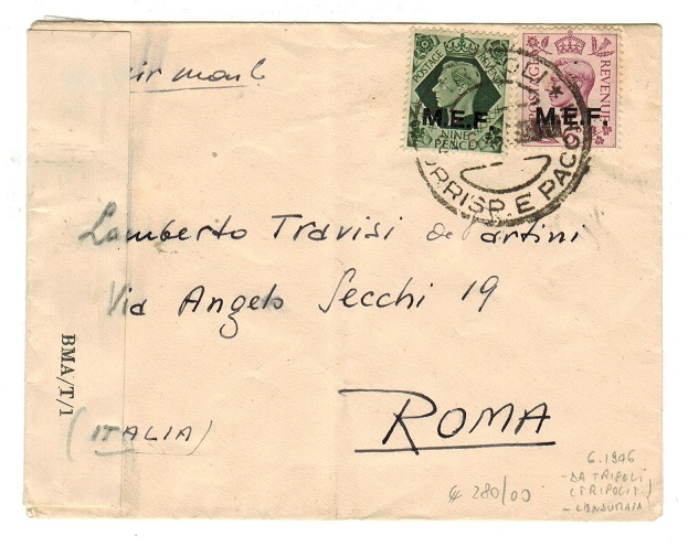 B.O.F.I.C. (Tripolitania) - 1946 cover to Italy with scarce BMA/T/1 censor label.