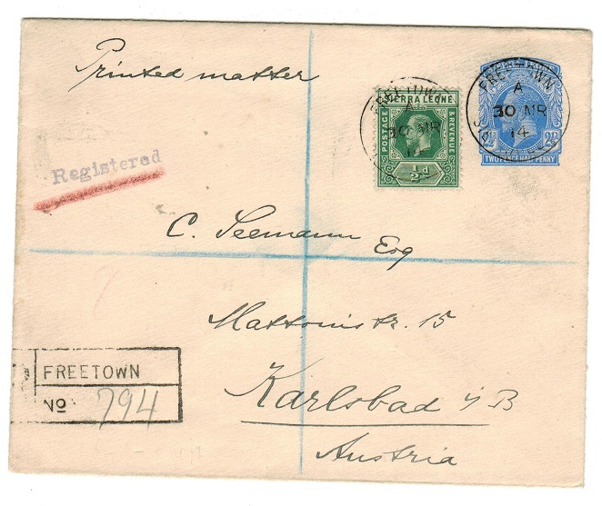 SIERRA LEONE - 1912 2 1/2d uprated PSE registered to Austria. H&G 6a.