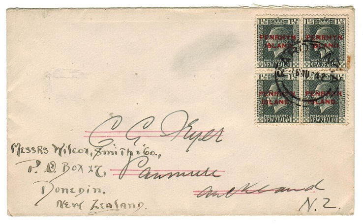 COOK ISLANDS - 1924 cover to NZ with PENRYHN 1 1/2d block of 4 used at RAROTONGA.