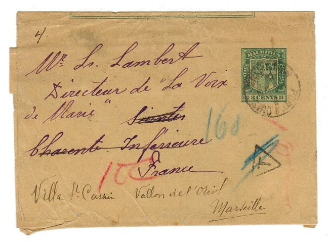 MAURITIUS - 1896 3c postal stationery wrapper addressed to France with TAX mark.