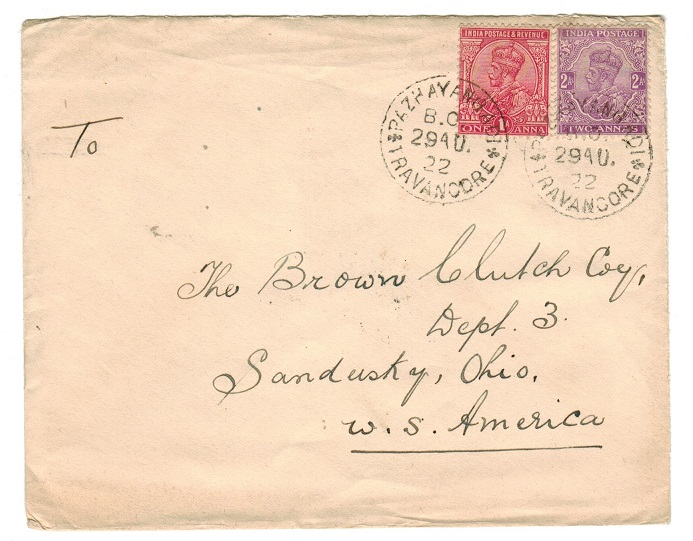 INDIA (Travancore) - 1922 cover to USA with India adhesives used at PAZHAYANGADI/TRAVANCORE.