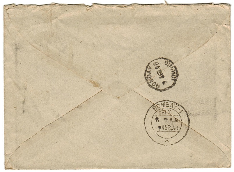 PAKISTAN - 1948 1 1/2as rate cover to India with TAX marks.