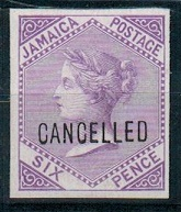 JAMAICA - 1871 6d mauve IMPERFORATE PLATE PROOF handstamped CANCELLED.