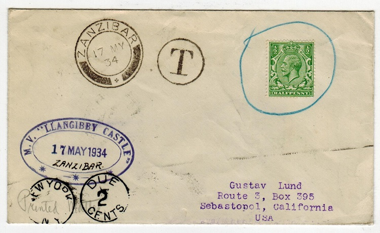ZANZIBAR - 1934 taxed maritime cover to USA used on board M.V.LLANGIBBY CASTLE.