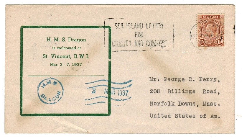 ST.VINCENT - 1937 H.M.S.DRAGON arrival commemoration cover to USA.