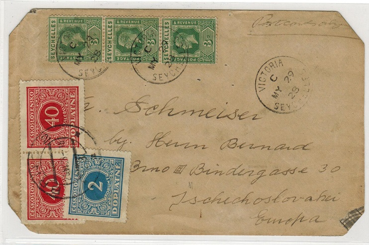 SEYCHELLES - 1928 underpaid TAX cover to Czechoslovakia.