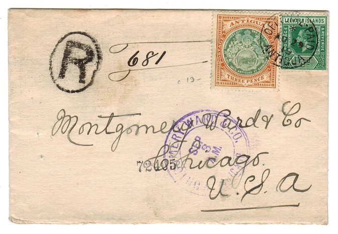 ANTIGUA - 1919 3 1/2d rate registered (FRONT) cancelled OFFICIAL PAID/ANTIGUA.