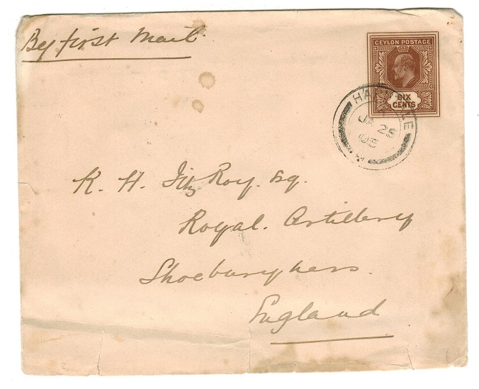 CEYLON - 1903 6c brown PSE to UK used at HAPUTALE.  H&G 34.