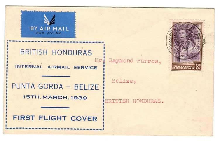 BRITISH HONDURAS - 1939 first flight cover from Punta to Belize.