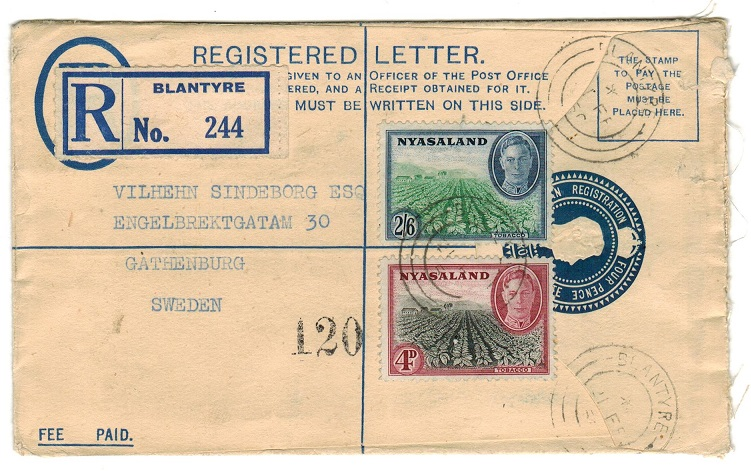 NYASALAND - 1938 uprated 4d RPSE addressed to Sweden used at BLANTYRE.