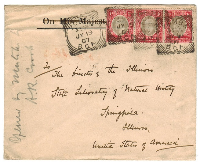 NYASALAND - 1907 OHMS envelope reused to USA with 1d strip tied by BLANTYRE cancels.