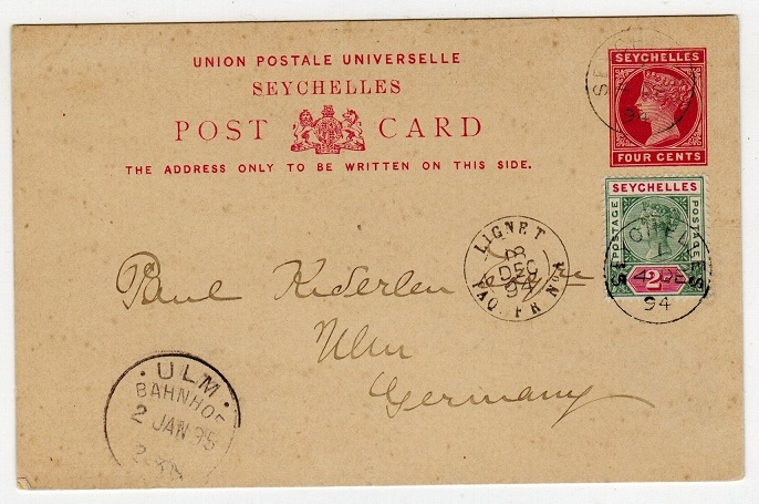 SEYCHELLES - 1890 4c PSC to Germany uprated and used by rural
