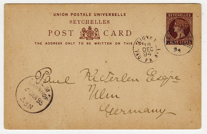 SEYCHELLES - 1890 8c PSC to Germany uprated and used with rural
