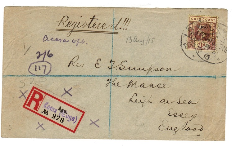TOGO - 1915 registered cover to UK with 3d tied LOME.