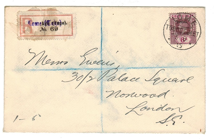 TOGO - 1915 registered cover to UK with 6d tied LOME.