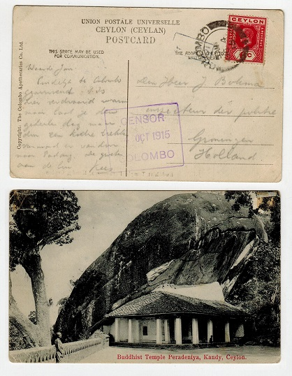 CEYLON - 1915 postcard to UK from COLUMBO with CENSOR/COLOMBO violet boxed strike.