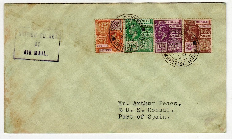 BRITISH GUIANA - 1929 First flight cover to Trinidad.